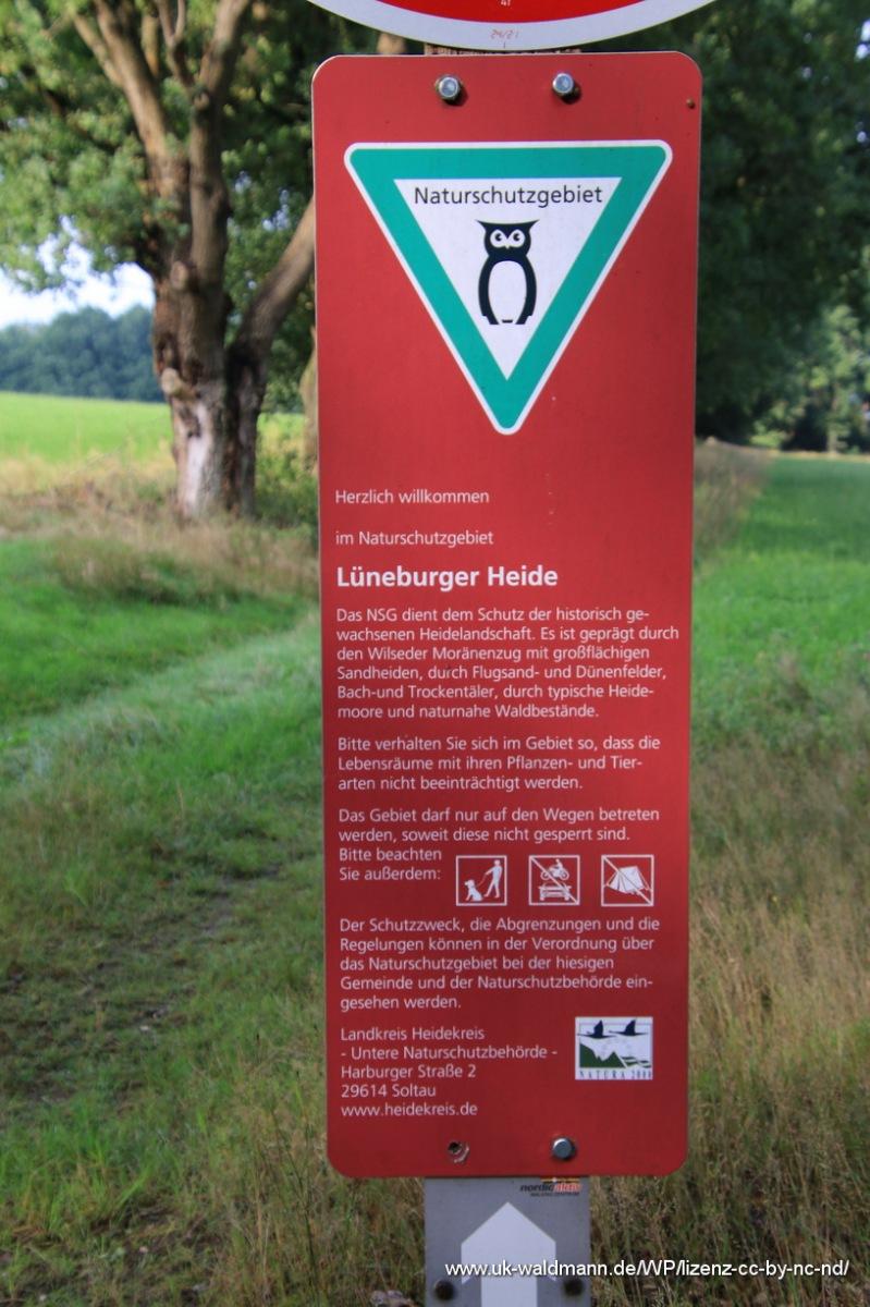 Hinweisschild Lüneburger Heide
